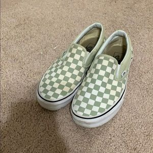Shoes - Green checkered vans